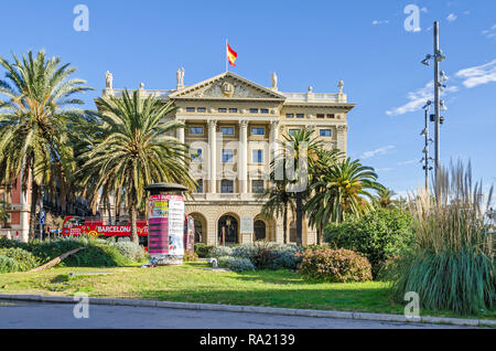 Barcelona, Spain - November 10, 2018: Building of the Headquaters of the Subinspectorate of the Army at the lower end of La Rambla - Stock Photo