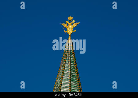 Moscow, Russia. August 27, 2018. Resurrection Gate (oskresenskie vorota) also called Iberian Gate (Iverskie vorota). Red Square. Double Headed Eagle,  - Stock Photo