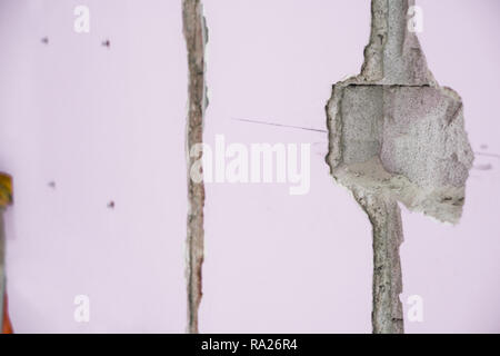 Renovation interior. Wall ready for electrical cabels - Stock Photo