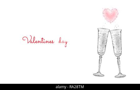 Two glasses of champagne with sparkles. Low poly polygonal white 3D toasting romantic love date. Heart shape tender dating chin-chin couple Valentine day vector illustration - Stock Photo