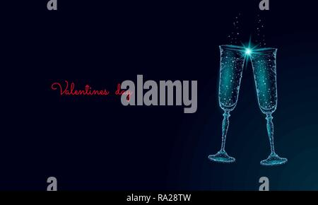 Two glasses of champagne with sparkles. Low poly polygonal blue glowing toasting romantic love date. Heart shape tender dating chin-chin couple Valentine day vector illustration - Stock Photo