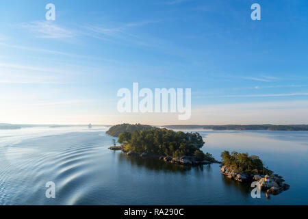 Stockholm Archipelago. View from the deck of the Turku to Stockholm ferry in the early morning, Stockholm Archipelago, Sweden - Stock Photo