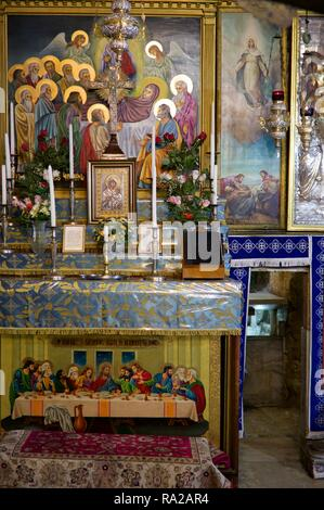 Interior of the Tomb of the Virgin Mary, Jerusalem - Stock Photo