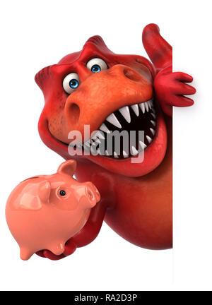 Fun dinosaur - 3D Illustration - Stock Photo