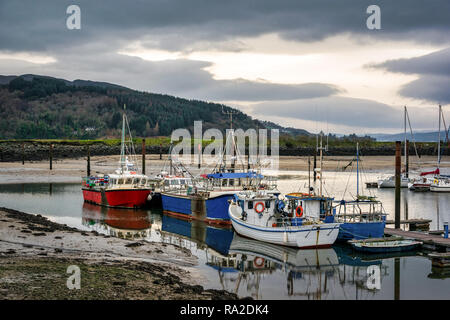 Fishing boats moored in harbor.  This is picture was taken in Donegal Ireland - Stock Photo