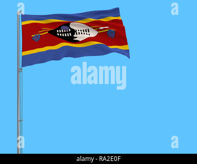 Isolate flag of Kingdom of eSwatini - Swaziland on a flagpole fluttering in the wind on a blue background, 3d rendering - Stock Photo