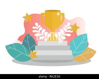 Vector illustration concept of business success, leadership, awards, career - Stock Photo