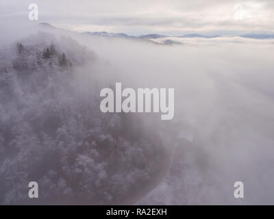 Aerial photo of thick fog covering the forest hill in early morning landscape. - Stock Photo