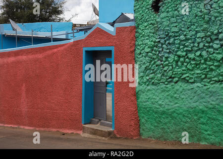 Harar / Ethiopia - May 04 2017: The entry to a house in the town of Harar, Ethiopia. - Stock Photo