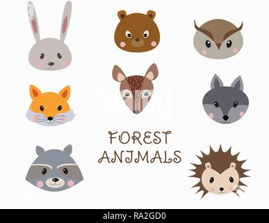 Set of forest animals faces. Woodland cartoon animals rabbit, raccoon, fox, bear, wolf, hedgehog, deer, owl. Vector - Stock Photo