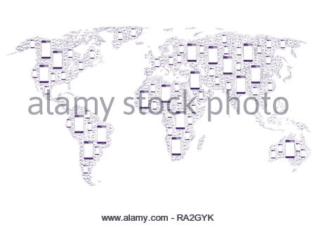 World map smartphones, world map with several handsets, world concept connected thanks to smartphone handsets. - Stock Photo