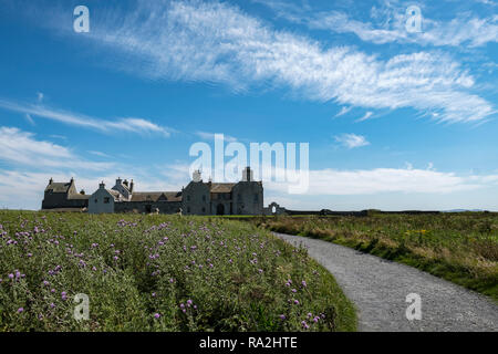 hiSkaill House, historic manor house in Sandwick Parrish, Mainland, Orkney Islands on a sunny summer day - Stock Photo