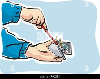 Illustration of an electrician at work - Stock Photo
