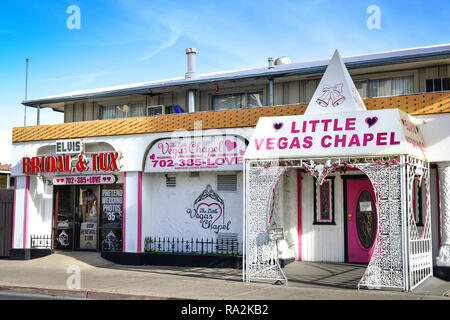 The Little Vegas Chapel, offers weddings, renewals and an option for Elvis ceremonies, it's  cheesy yet popular for a quickie wedding, on the Las Vega - Stock Photo