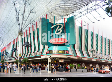Entrance to the world famous Binion's Gambling Hall and Hotel, a vintage casino located at the Fremont Street Experience in downtown Las Vegas, NV - Stock Photo
