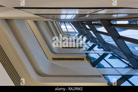 Interior of the Jockey Club Innovation Tower at Hong Kong Polytechnic University - Stock Photo