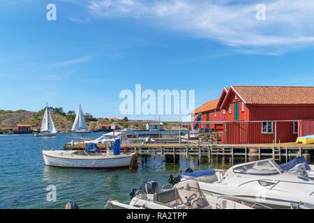 Waterfront in the fishing village of  Mollösund, Orust, Bohuslän Coast, Götaland, Sweden - Stock Photo