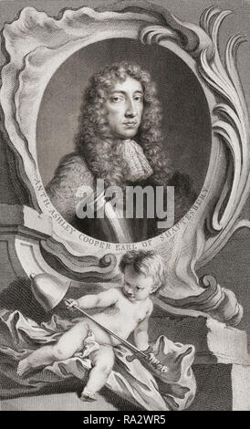 Anthony Ashley Cooper, 1st Earl of Shaftesbury, 1621-1683.  English politician. From the book The Heads of Illustrious Persons of Great Britain, Engraved by Houbraken and Mr. Vertue.  With Their Lives and Characters. The book was compiled and written by Thomas Birch, 1705-1766 .  From an edition dated 1813. - Stock Photo