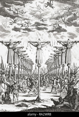 16th century Christian martyrs in Japan.  The engraving by French artist Jacques Callot, 1592-1635, which is dated 1627, may refer to either of two episodes of martyrdom in Nagasaki, Japan where, in 1597, 26 Christians were executed or in 1632, when 55 Christians were killed in what is known as the Great Genna Martyrdom. - Stock Photo