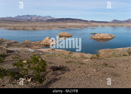Lake Mead is a lake formed in the desert by the Hoover Dam on the Colorado River, southeast of Las Vegas, Nevada. - Stock Photo