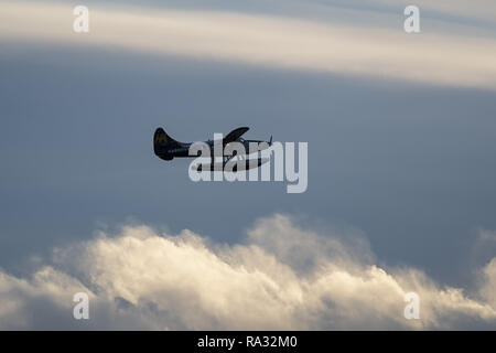 Richmond, British Columbia, Canada. 29th Dec, 2018. A Harbour Air DHC-3T Otter (C-FRNO) floatplane airborne after take-off. Credit: Bayne Stanley/ZUMA Wire/Alamy Live News - Stock Photo