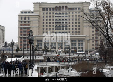 Moscow, Russia. 01st Jan, 2019. MOSCOW, RUSSIA - JANUARY 1, 2019: A view of the Four Seasons Hotel Moscow. Alexander Shcherbak/TASS Credit: ITAR-TASS News Agency/Alamy Live News - Stock Photo