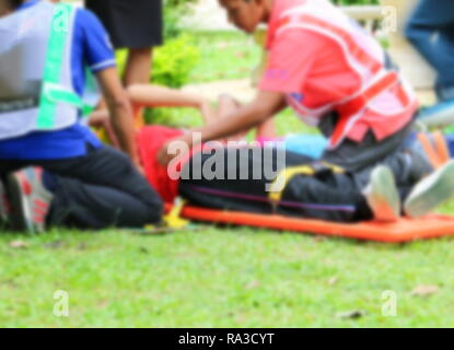 blurred of emergency medical service. Paramedic is pulling stretcher with assist a patient in  rescue situations. - Stock Photo