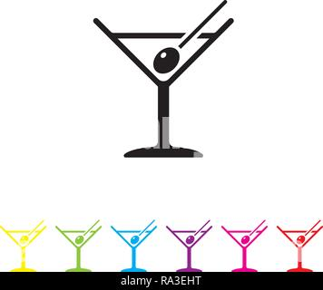 Martini cocktail with olive on toothpick vector icon. Alcoholic beverage symbol in black and six color variations. - Stock Photo
