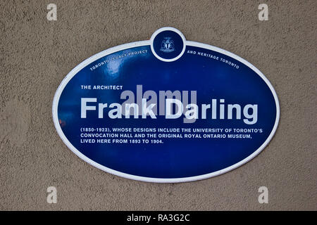 Blue commemorative plaque on home of Canadian architect Frank Darling, Toronto, Ontario, Canada - Stock Photo