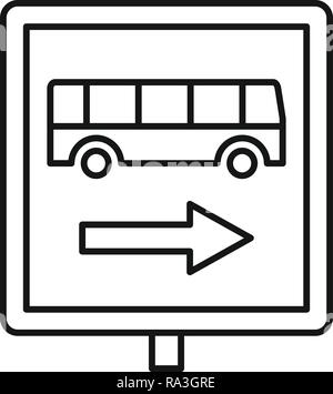 Sign bus stop icon. Outline sign bus stop vector icon for web design isolated on white background - Stock Photo