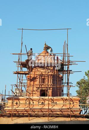 Reconstruction after earthquake, Shiva Temple, Durbar Square, Old Town, Kathmandu, Nepal - Stock Photo