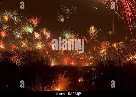 New Year fireworks, Wilhelmsburg, Hamburg - Stock Photo