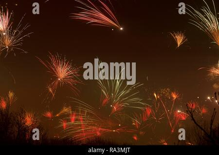 New Year's Eve fireworks, Wilhelmsburg, Hamburg - Stock Photo