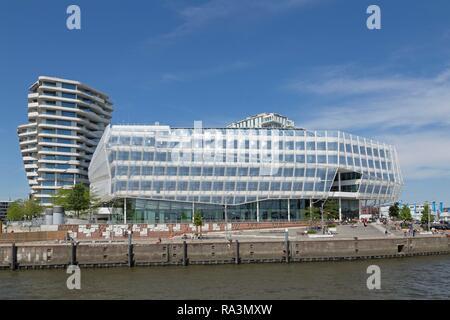 Marco Polo Tower and Unilever House, HafenCity, Hamburg, Germany - Stock Photo