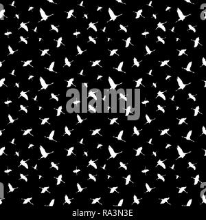 Wrapping paper, wallpaper, background black, seamless pattern, cranes, Germany - Stock Photo