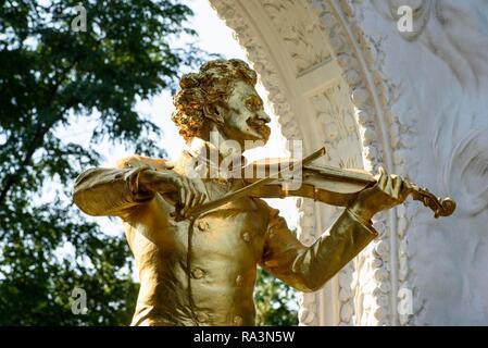 Monument of Johann Strauß II, Stadtpark, Vienna, Austria - Stock Photo