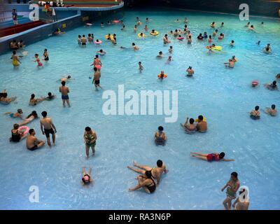 Bathers, Beijing National Aquatics Center, Water Cube, Olympic Green, Beijing, China - Stock Photo