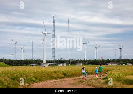 Wind Turbines on Prince Edward Island - Stock Photo