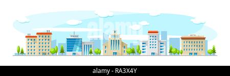 Cityscape with old and modern buildings. Vector flat town illustration - Stock Photo