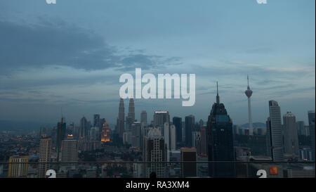Evening view over Kuala Lumpur, Malaysia - Stock Photo