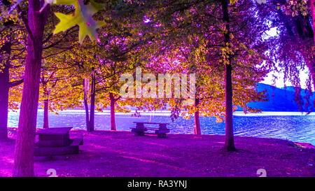 Morgenstimmung am Ufer von Dongo am Comer See, in prächtigen Farben - Stock Photo