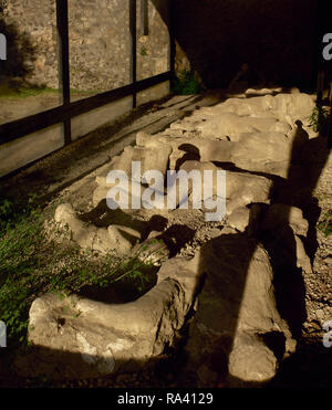 Italy. Pompeii. Plaster casts of victim's bodies at the Garden of the Fugitives. The bodies of 13 people who were buried by the ashes as they attempted to flee Pompeii during the 79 AD eruption of the Vesuvius volcano. Campania. - Stock Photo