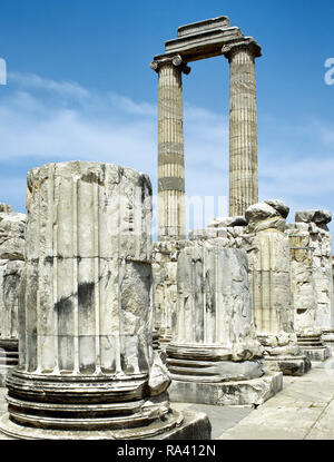 Turkey. Didyma. Temple of Apollo. It was built in the 6th century BC and destroyed by the Persians to punish the Milletans for their rebellion. In 334 BC Alexander the Great liberated the cities of Ionia and ordered the enlargement of the temple. Ionic columns of the pronaos. Hellenic period. Anatolia. - Stock Photo