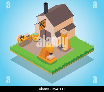 Smithy concept banner, isometric style - Stock Photo