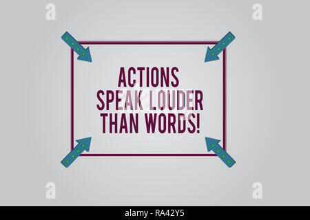 Writing note showing Actions Speak Louder Than Words. Business photo showcasing Make execute accomplish more talk less Square Outline with Corner Arro - Stock Photo