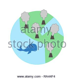 Globe with environmental pollution illustration in flat design - Stock Photo