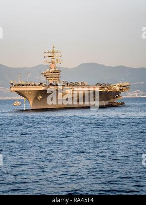 CVN 69 USS Dwight D. Eisenhower, Nimitz Class aircraft carrier in port, Naples, Gulf of Naples, Campania, Italy - Stock Photo