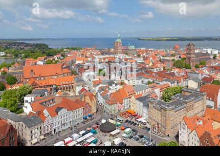 View of the historic city centre of Stralsund as seen from the tower of St. Mary's Church, Stralsund - Stock Photo