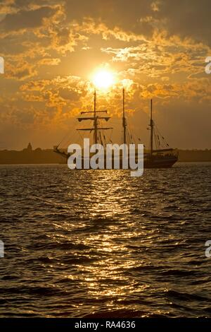Three-masted sailing ship in front of sunset, Kieler Woche, Kiel, Schleswig-Holstein, Germany - Stock Photo