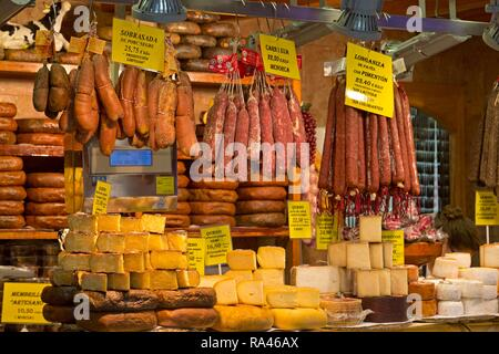 Stall with sausages and cheeses, Mercat de l'Olivar, Palma de Majorca, Spain - Stock Photo
